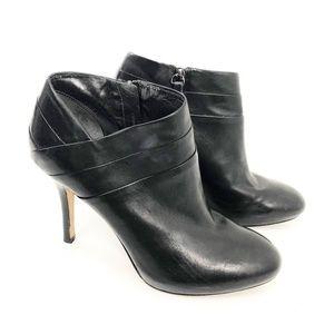 Via Spiga Black Leather Ankle Zip Booties Size 8